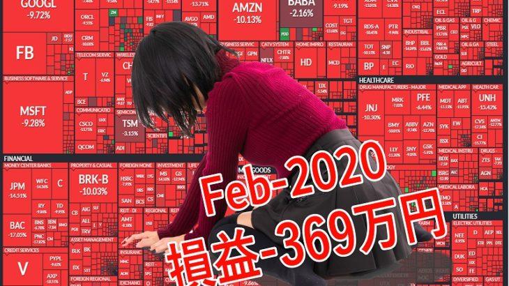 2020年2月 月次運用レポート、ウイルス相場本格化!! 月間の損益-369万円!! 107万足したのに262万減っている、これはホラーか?